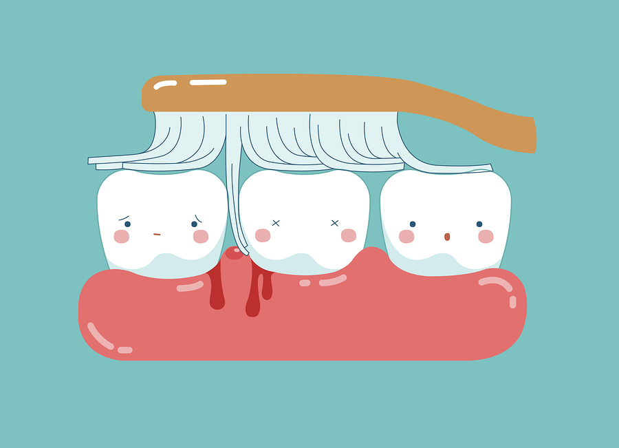 Brushing make hurt gum and teeth, teeth and tooth concept of dental